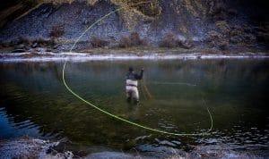 Angler casting a line