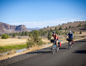 Cyclists on the Old West Scenic Bikeway