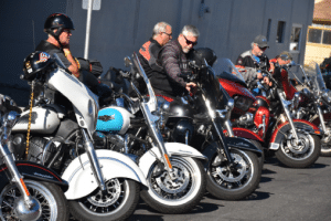 Motorcycles parked at a rally