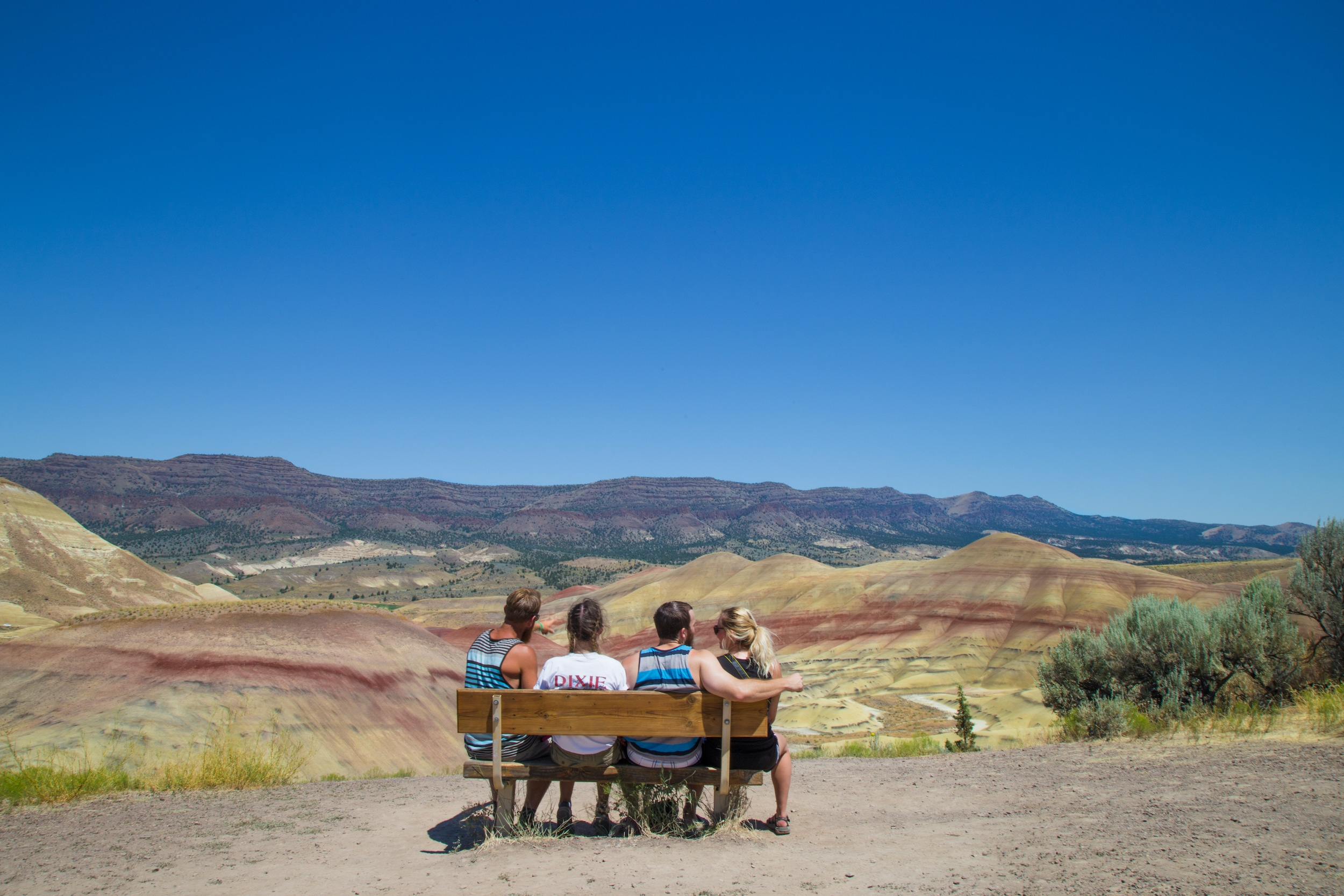 4 People sitting on bench looking out at the Painted Hills